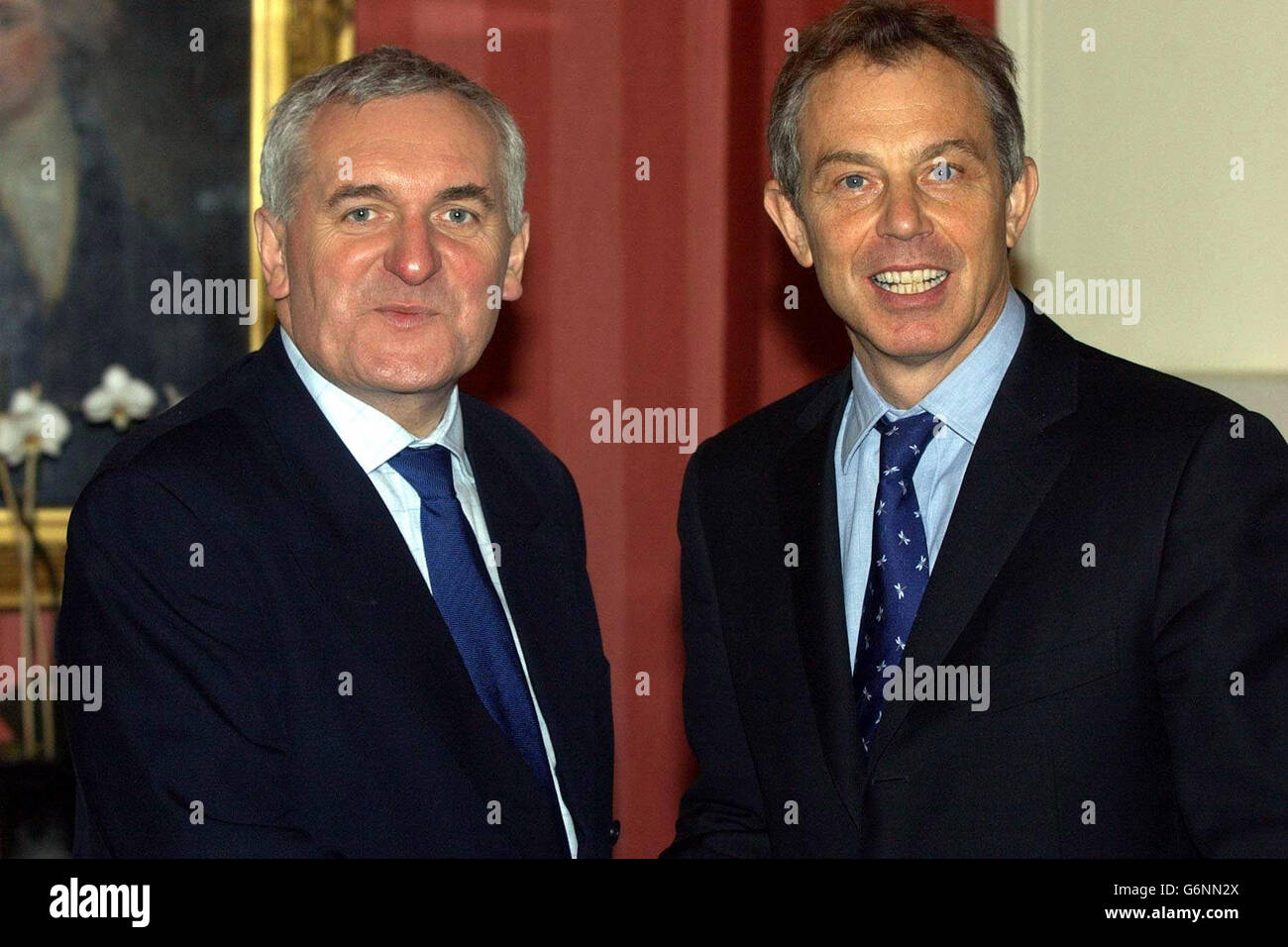 Tony Blair and Bertie Ahern Good Friday Agreement - Stock Image