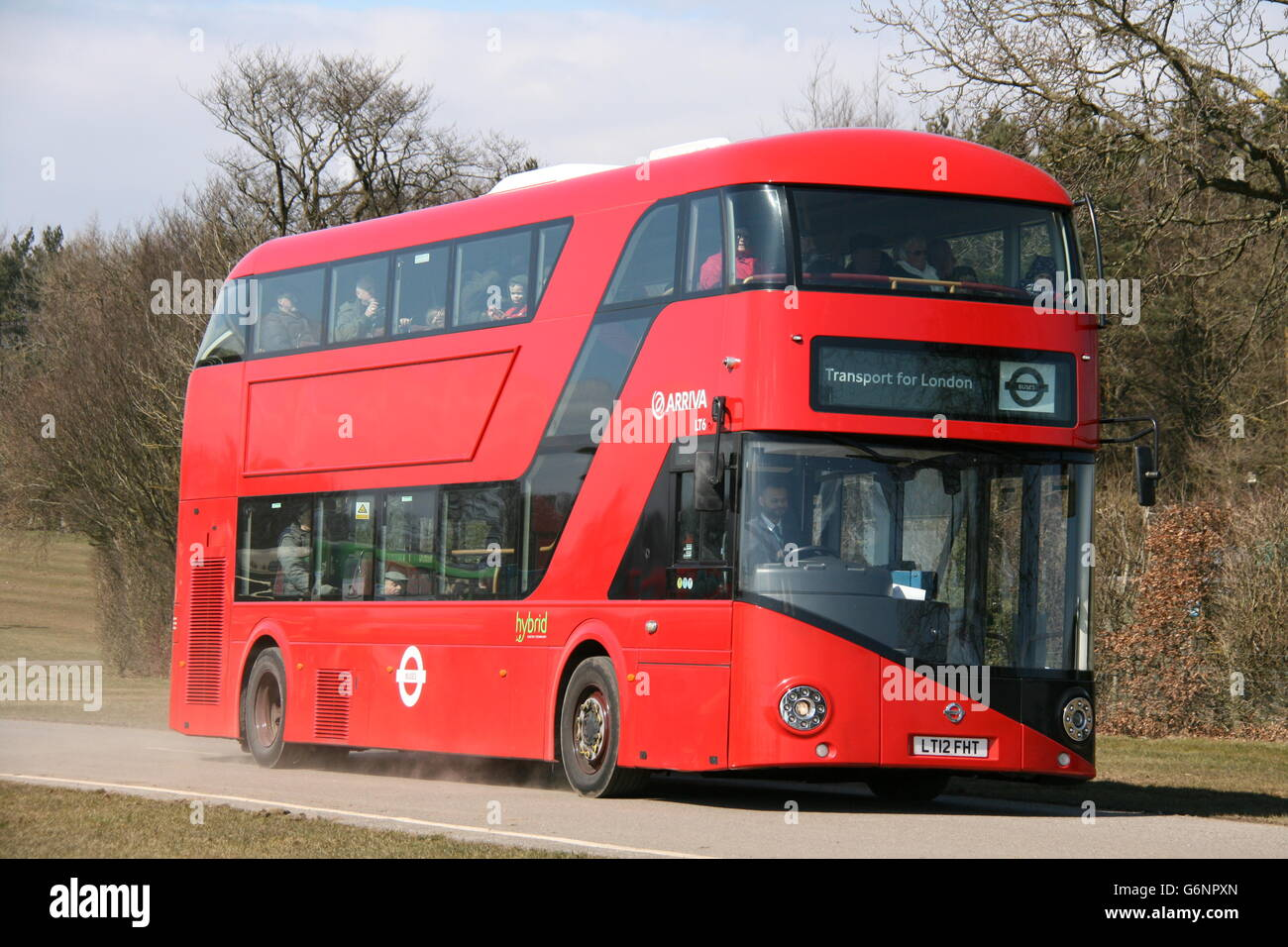 A SUNNY OFFSIDE VIEW OF A RED NEW ROUTEMASTER LONDON BUS AT SPEED ON A NARROW ROAD - Stock Image