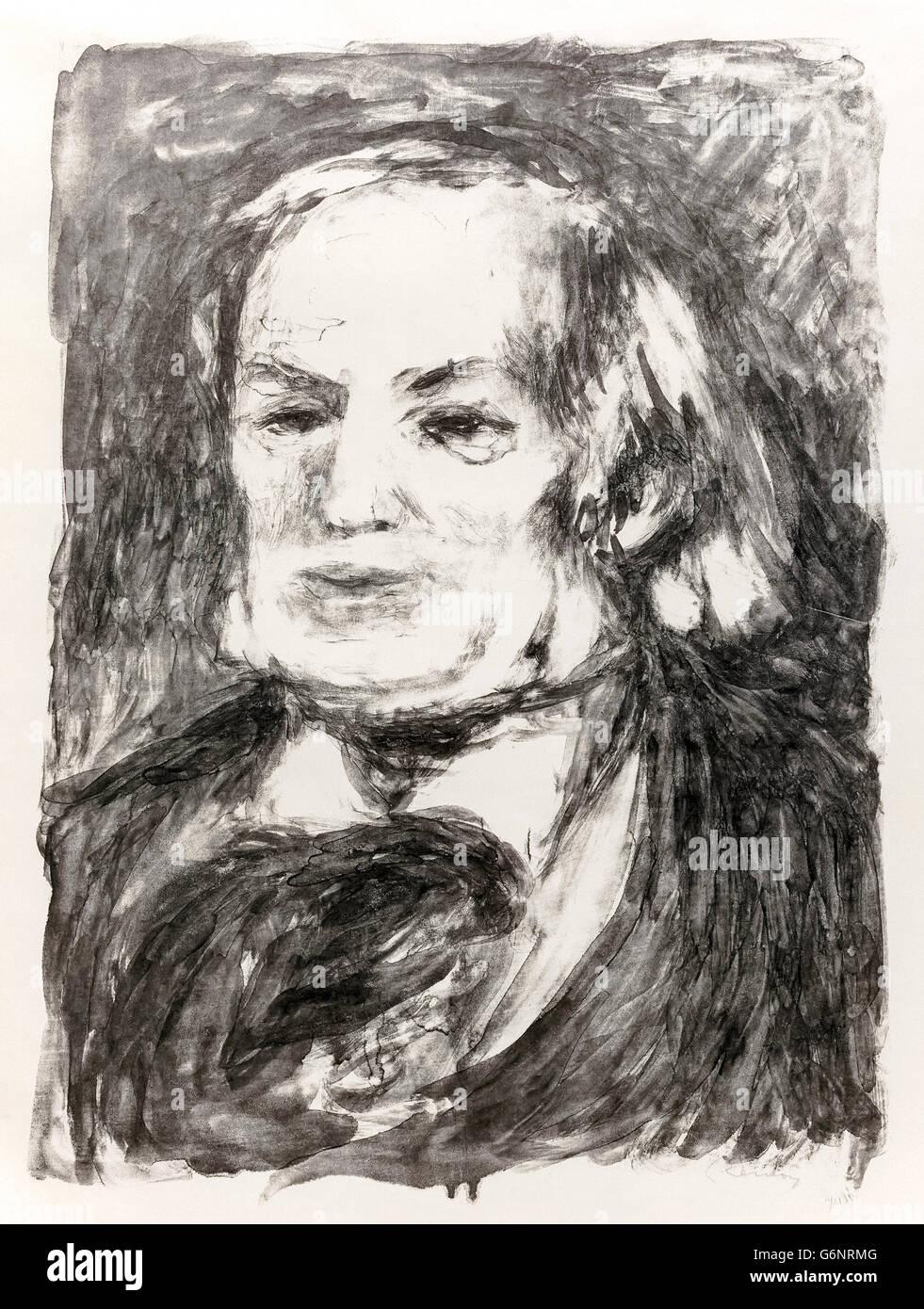 Richard Wagner (1813-1883) German composer, portrait by Pierre-Auguste Renoir (1841-1919) circa 1882. See description - Stock Image