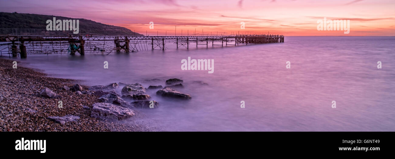 Damage Totland Pier at Isle of Wight - Stock Image
