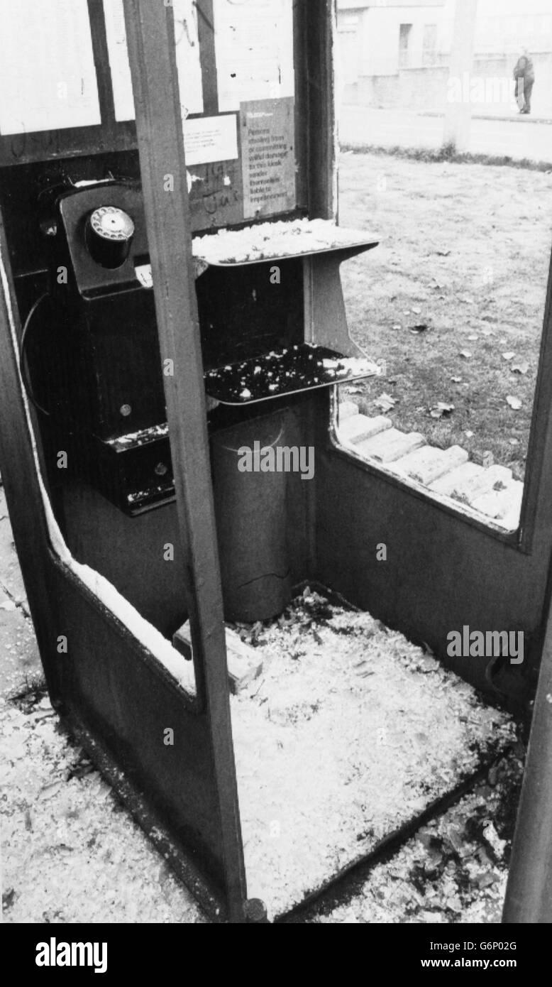 Politics - Miners Dispute - Vandalised Telephone Kiosk - Grimethorpe - Stock Image