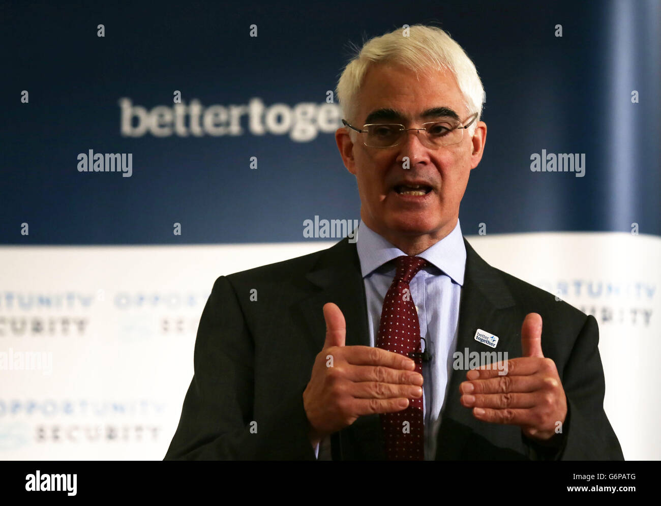 Darling speaks to young Scot voters - Stock Image