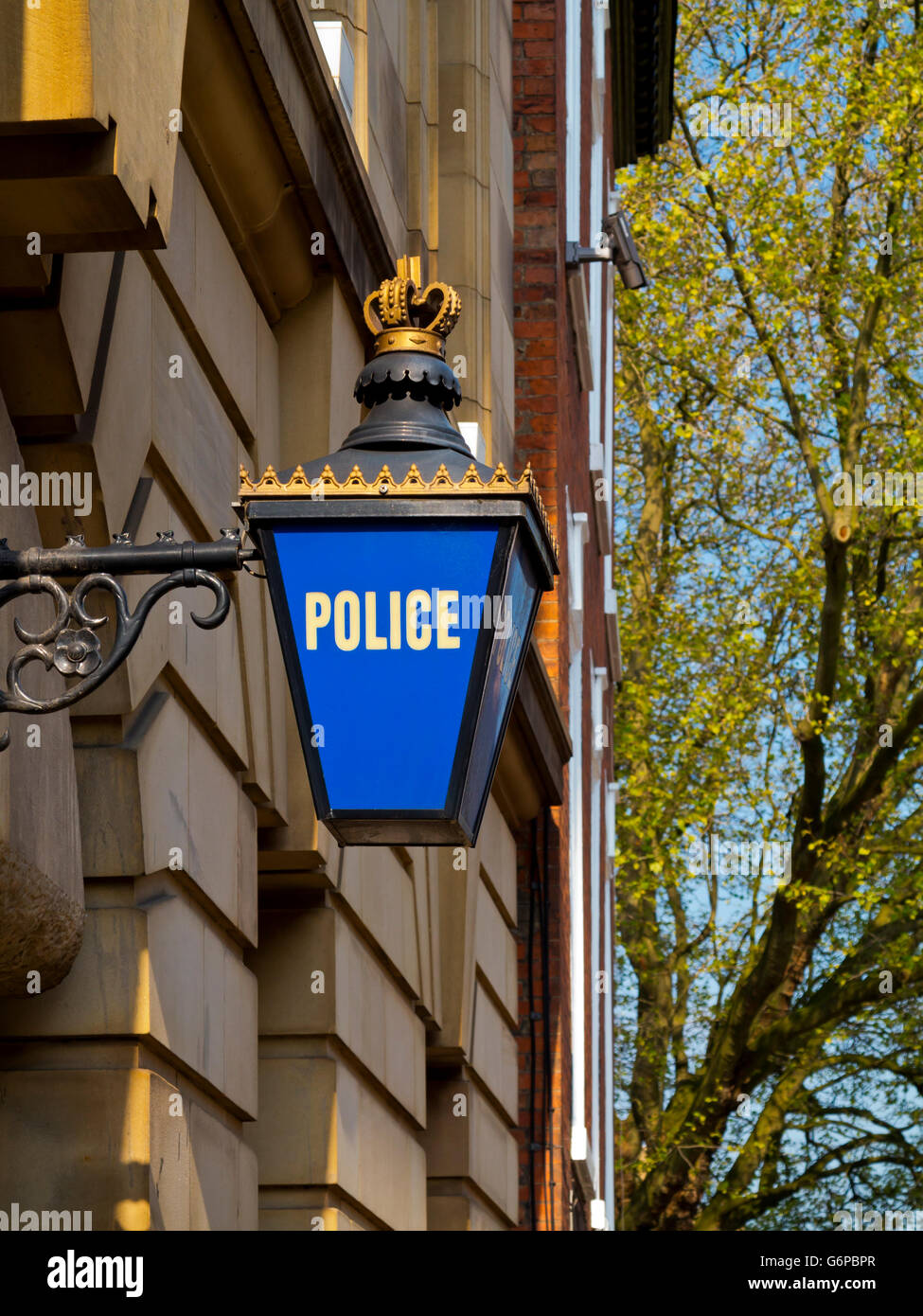 Traditional blue lamp outside a police station in Nottingham city centre Nottinghamshire England UK - Stock Image