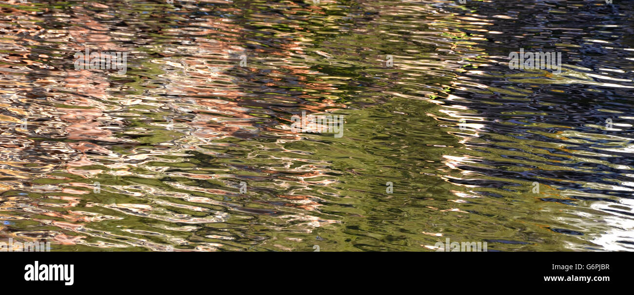 Colourful pink, green and blue ripples and reflections on water - Stock Image