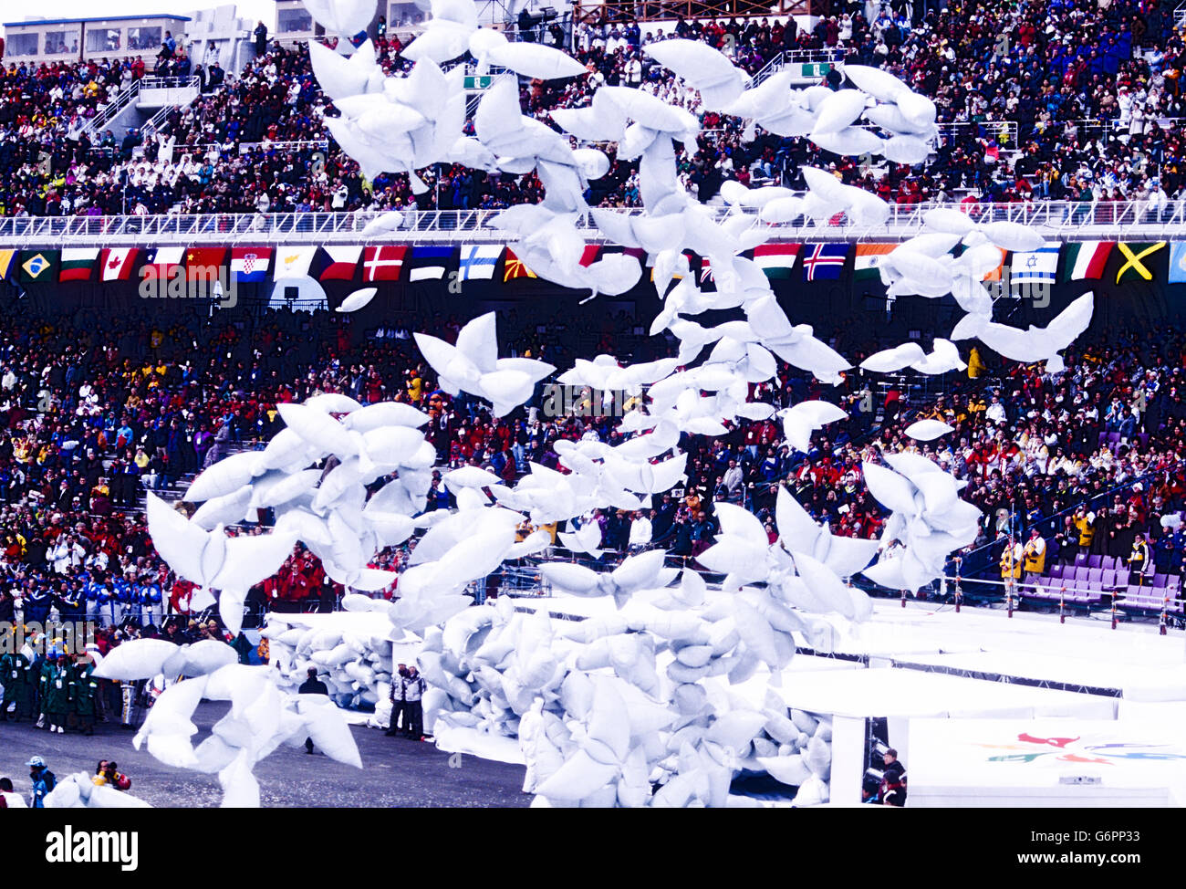 The Opening ceremonies at the 1998 Olympic Winter Games, Nagano, Japan - Stock Image