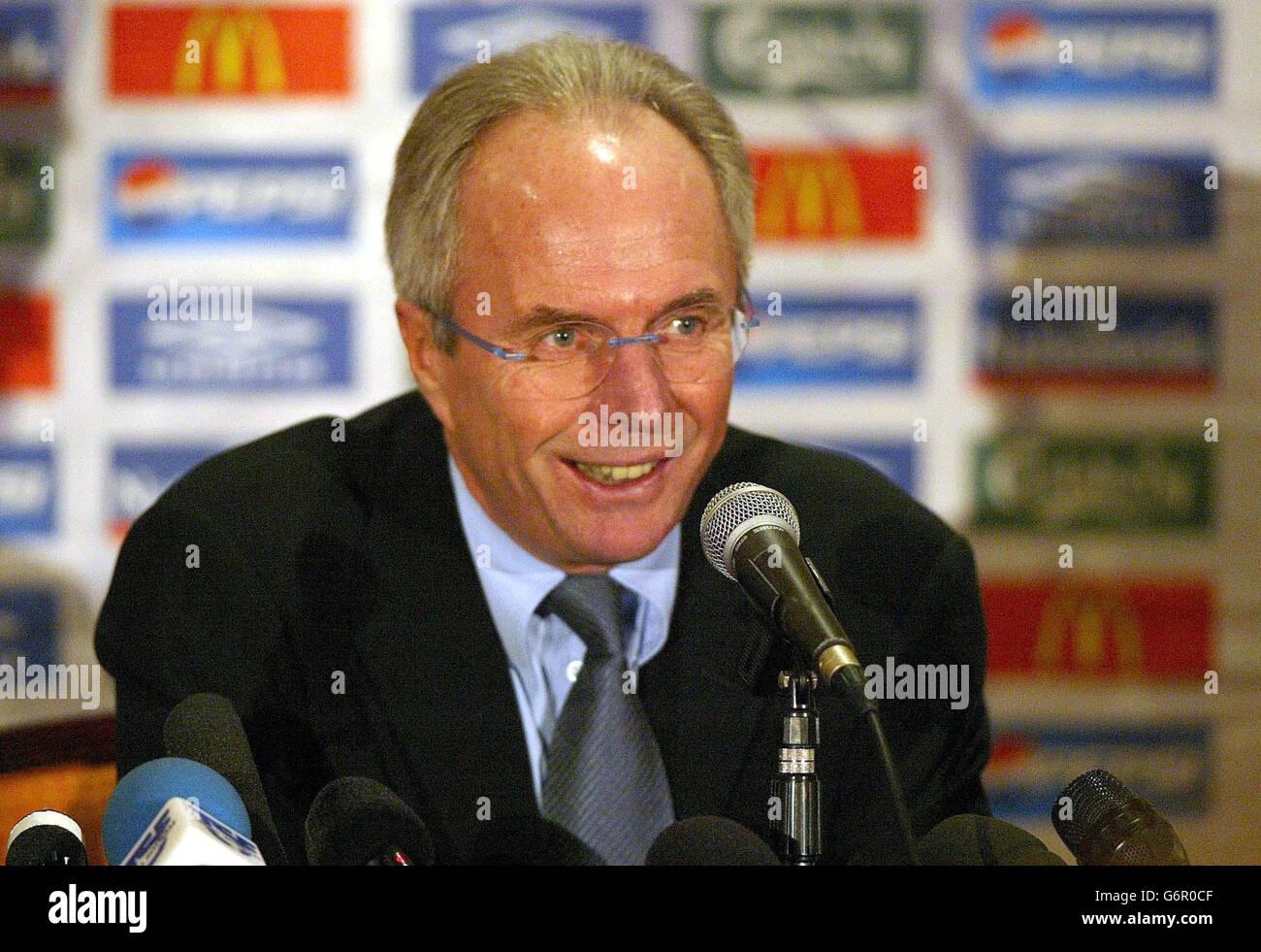 Sven Goran Erikisson during the press conference - Stock Image