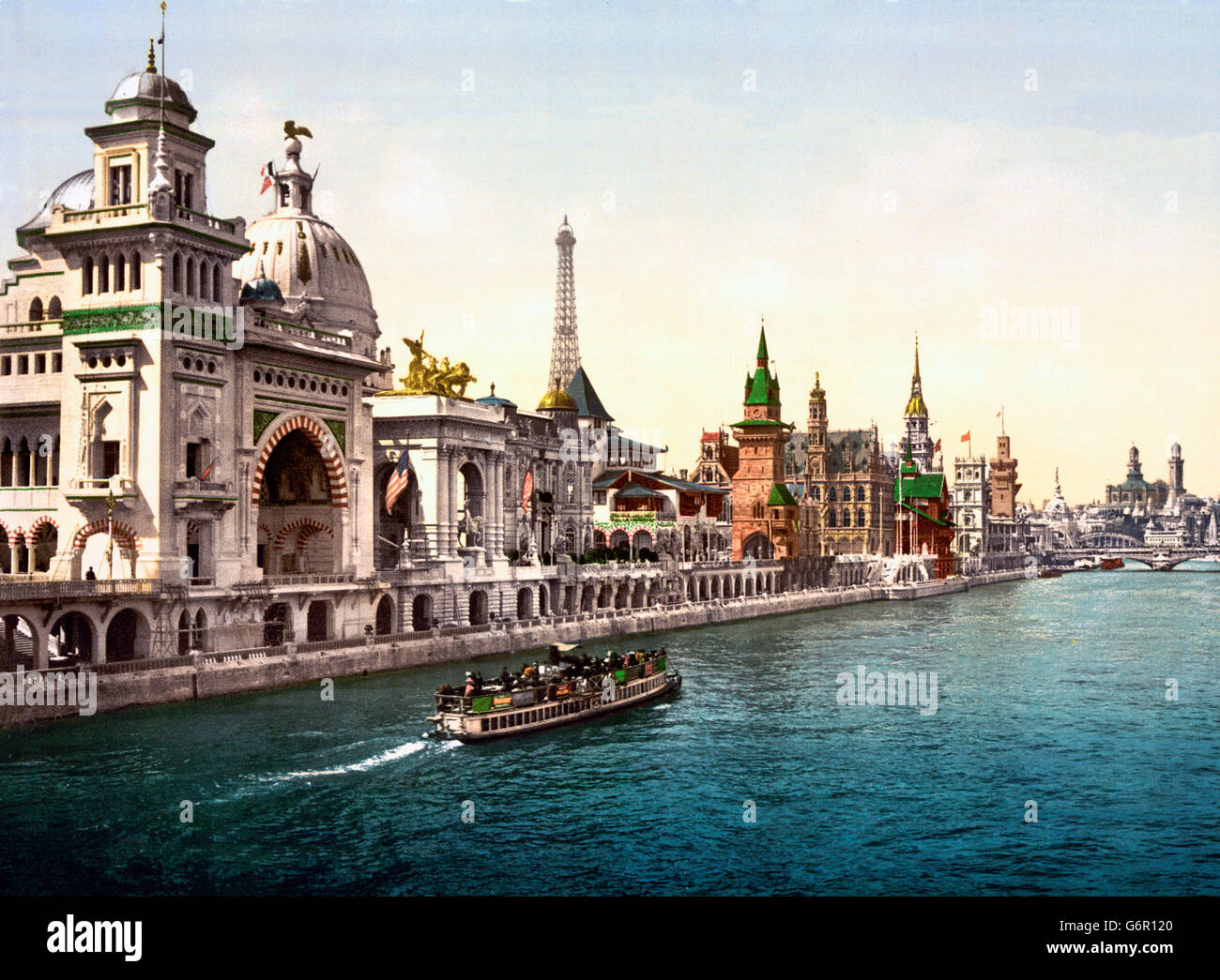 Paris Exposition 1900. The Pavilions of the Nations from the River Seine, with the Eiffel Tower in the distance, - Stock Image