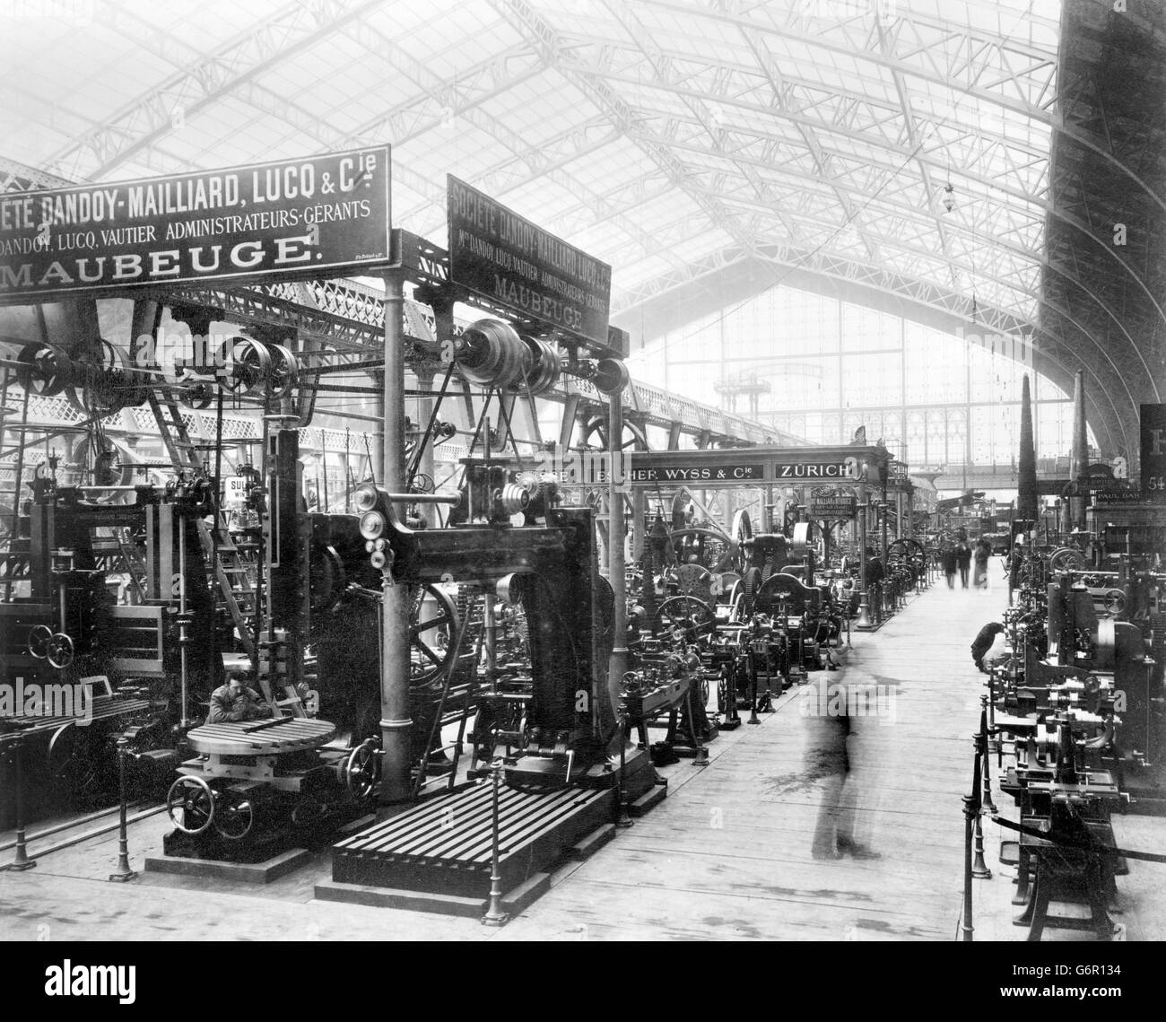Paris Exposition 1889. Interior view of the Gallery of Machines, Exposition Universelle Internationale de 1889, - Stock Image