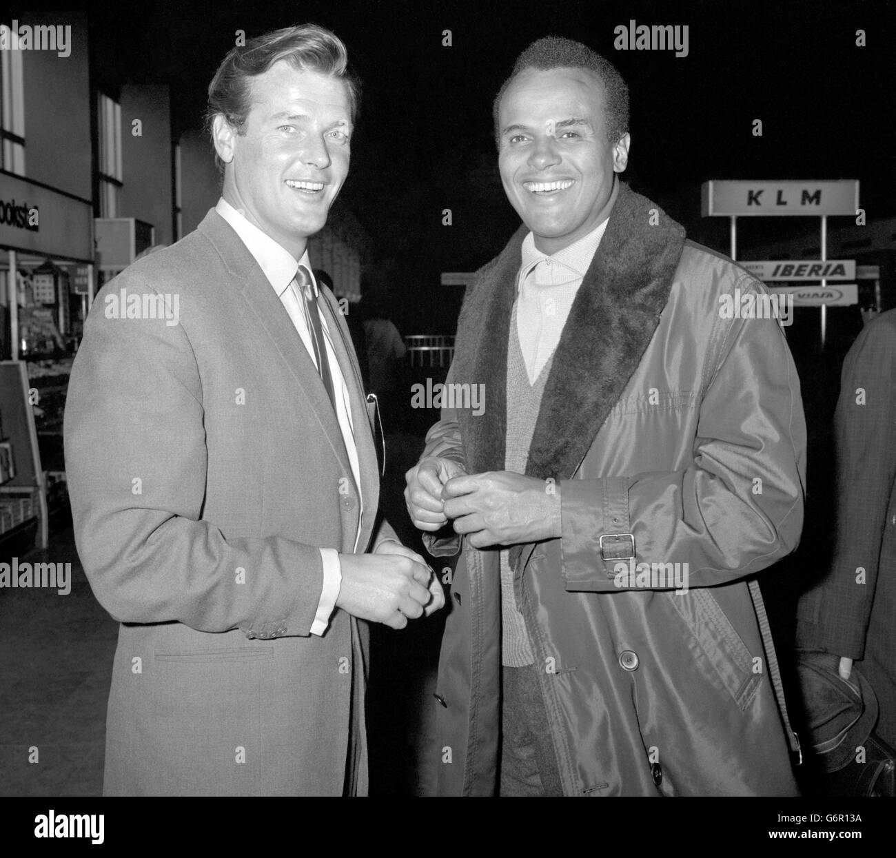 Entertainment - Roger Moore with Harry Belafonte - London Airport - Stock Image
