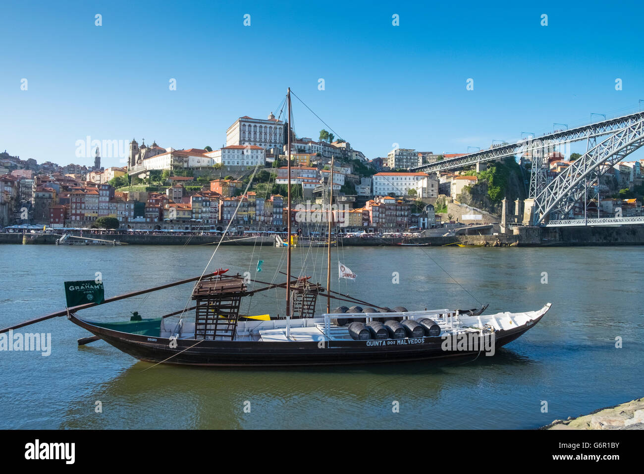 A traditional Rabelo boat, used for transportation of port wine, Porto, Portugal Stock Photo