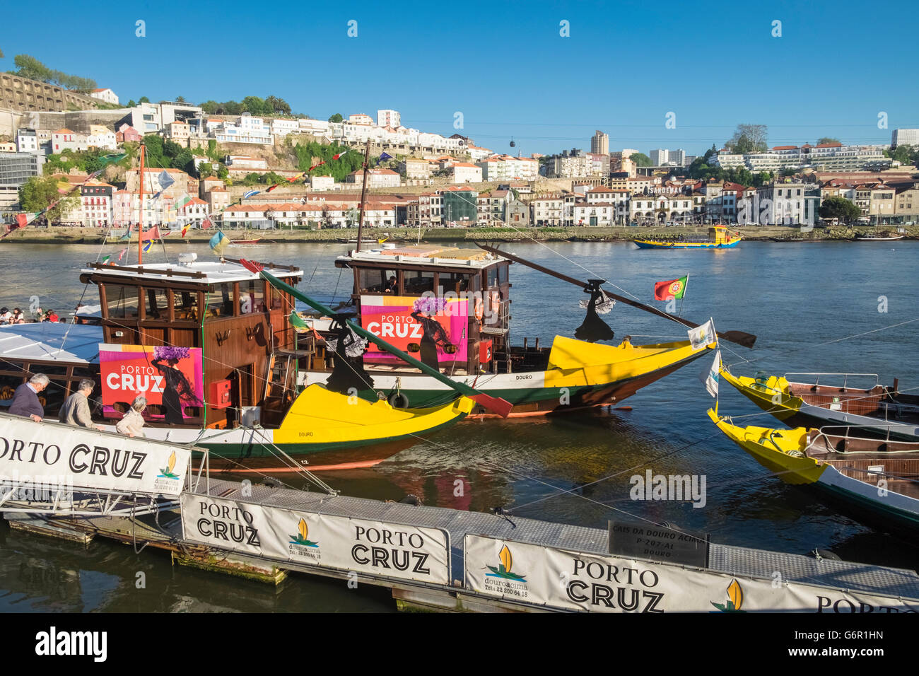 Adapted Rabelo boats used for tourist travel along the Douro river, Porto, Portugal Stock Photo