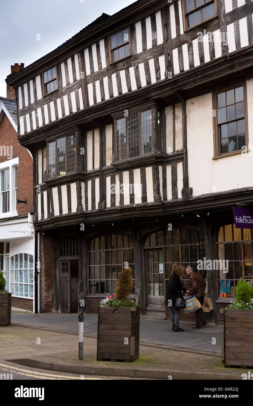 UK, Gloucestershire, Gloucester, Westgate Street, Folk Museum in C17th timber Tudor Merchants House - Stock Image