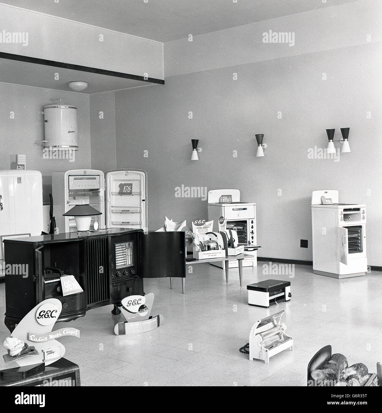 1950s, historical, display of a range of electrical products for use ...