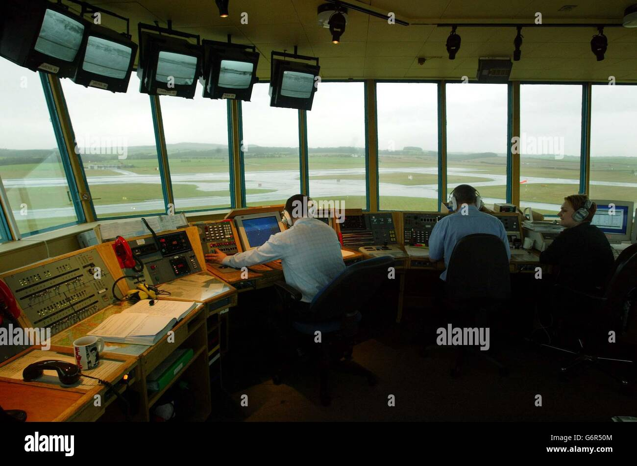 An air traffic controller at Glasgow Airport Stock Photo