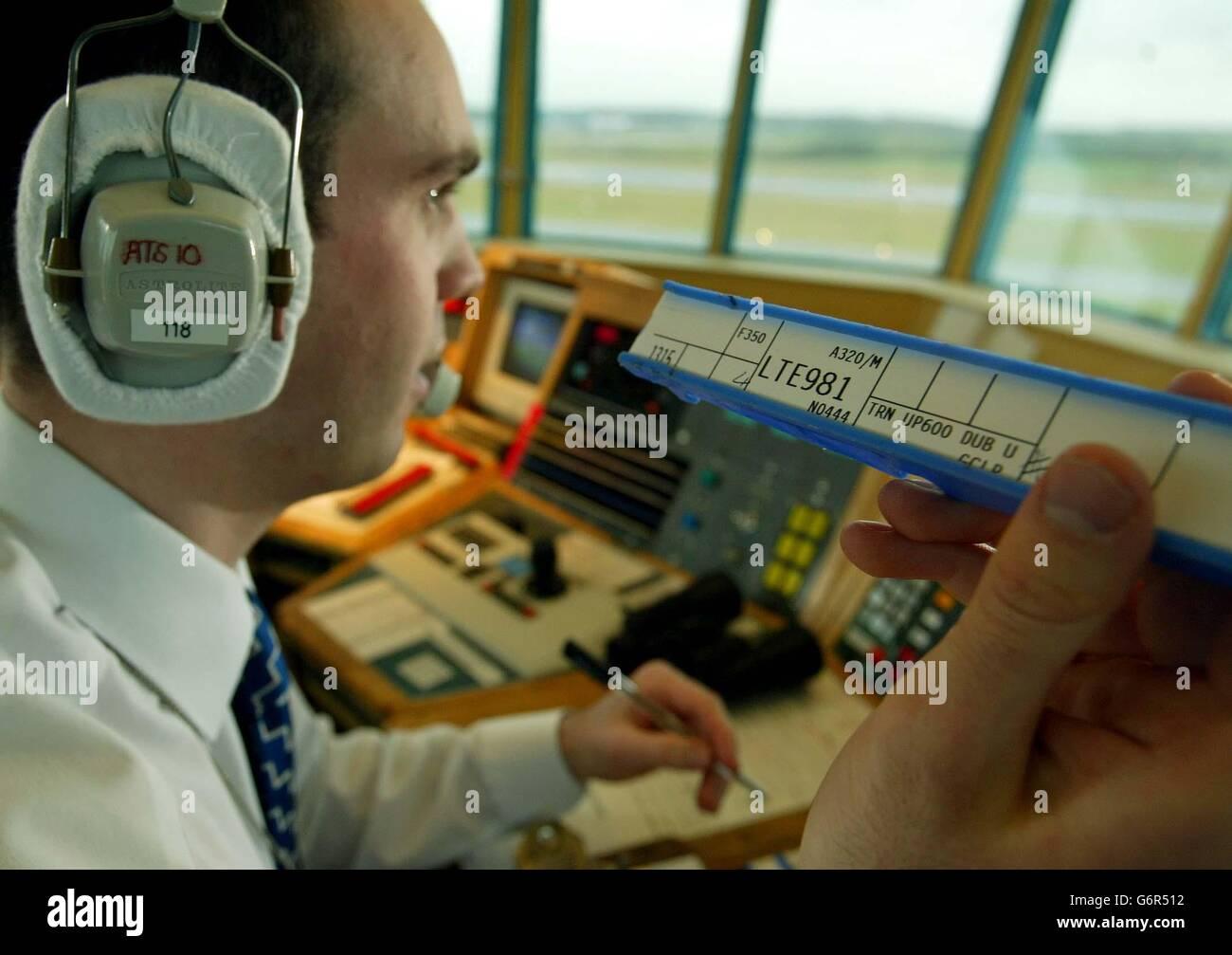 Air traffic controller Glasgow Stock Photo