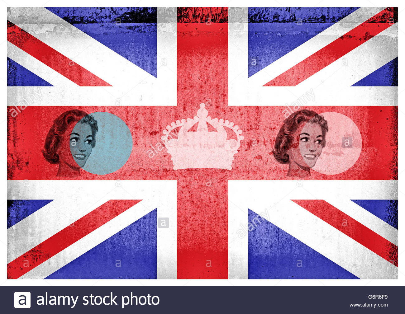 Retro fifties patriotic union jack housewife mid century illustration - Stock Image
