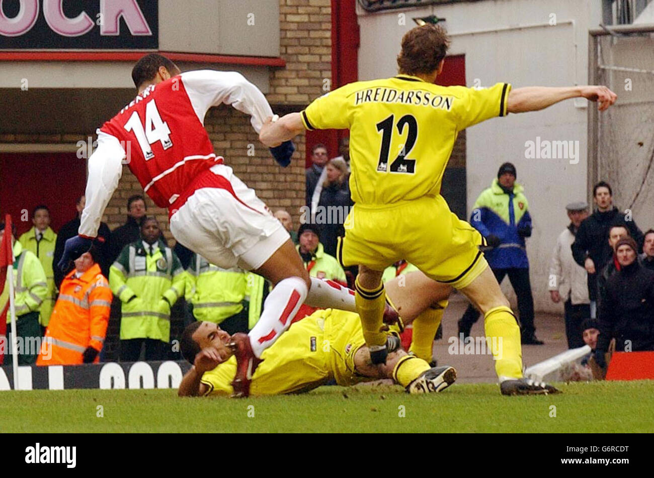 Arsenal's Thierry Henry scores - Stock Image