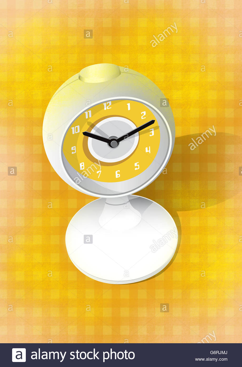 Retro globe clock with gingham background and  illustration - Stock Image