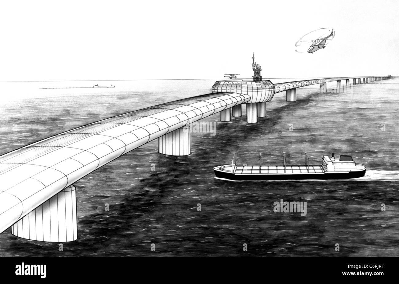 Channel Tunnel - Engineering Project Deadline - Artist's Impression of Eurolink Bridge - Stock Image