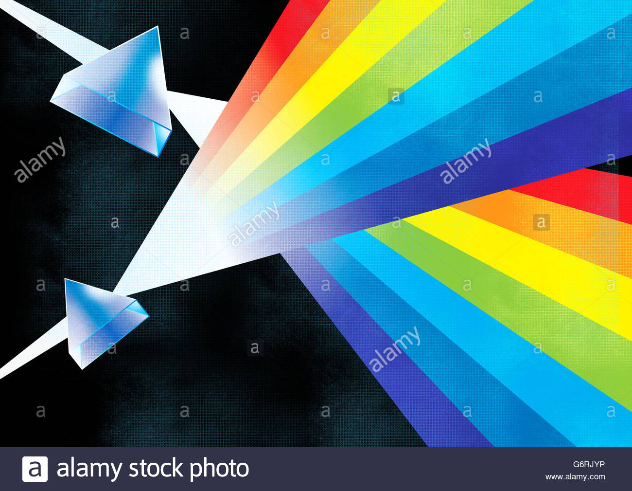 retro science illustration light spectrum prism lenses and sound waves - Stock Image