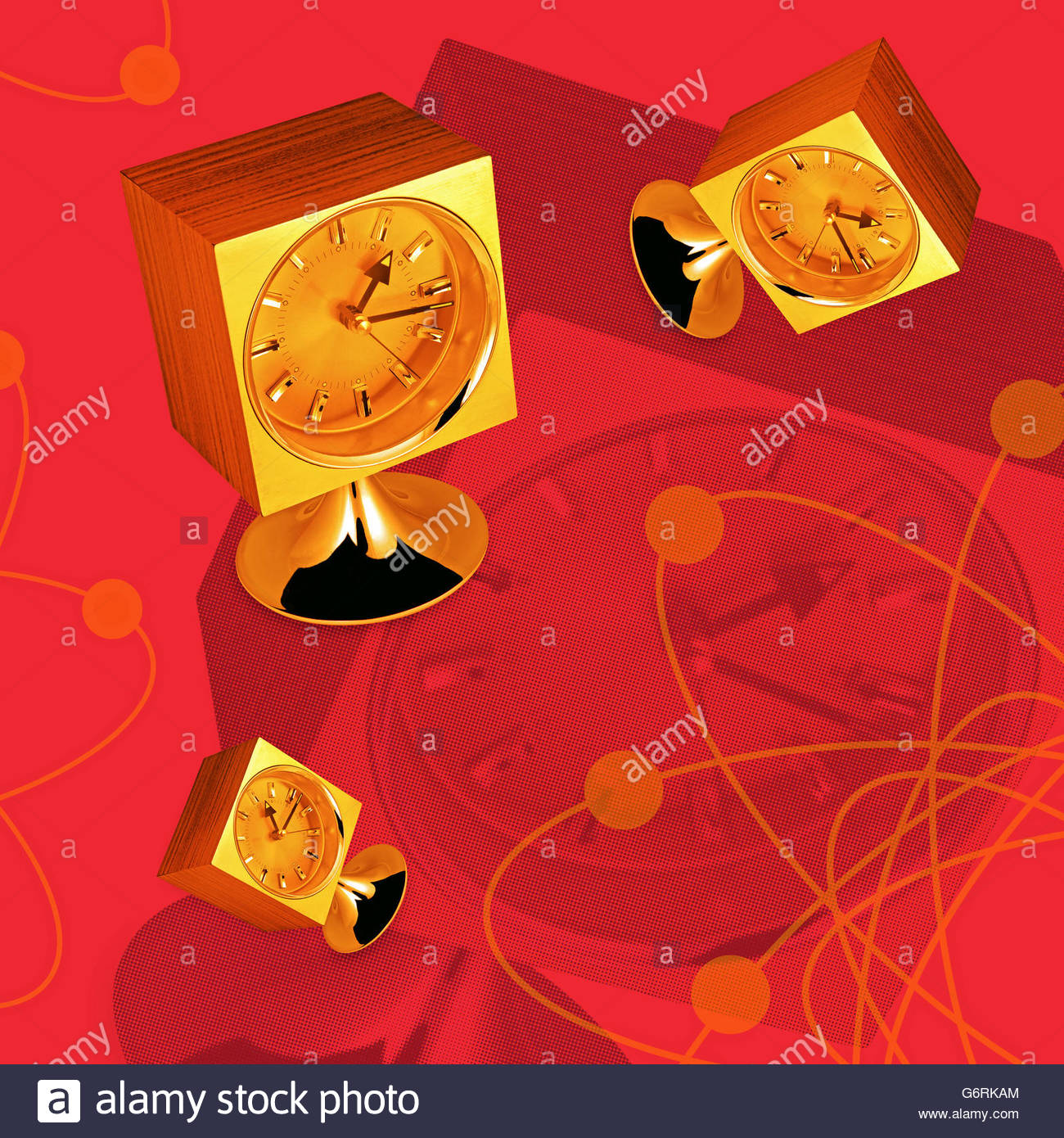 Vintage atomic mantel clock illustration - Stock Image