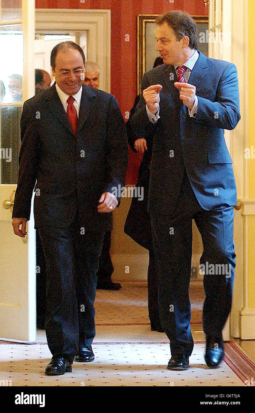Silvan Shalom L Stock Photos Images Alamy White Long Tony Blair With Image