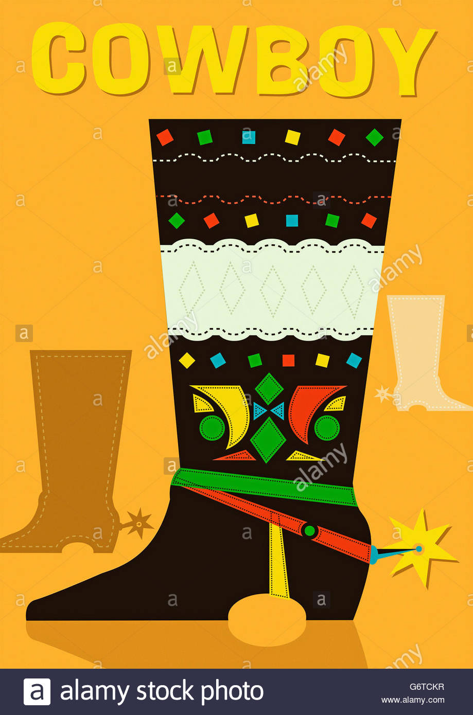 retro cowboy boot wild west american mid century illustration - Stock Image