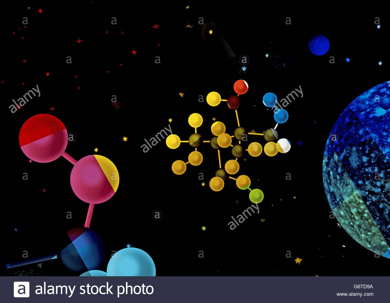 Retro atomic space illustration - Stock Image