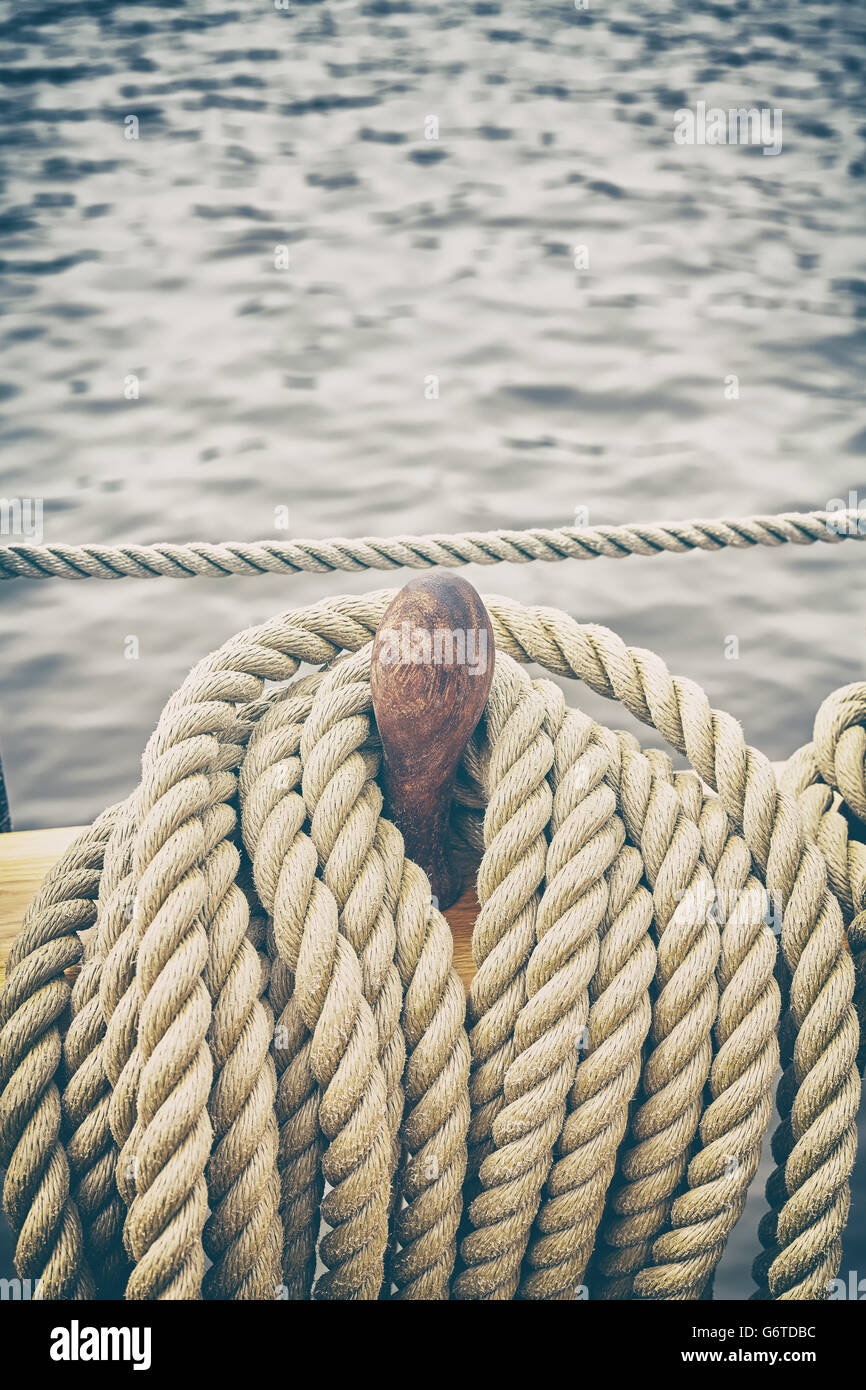 Retro stylized rigging of an old sailing ship. - Stock Image
