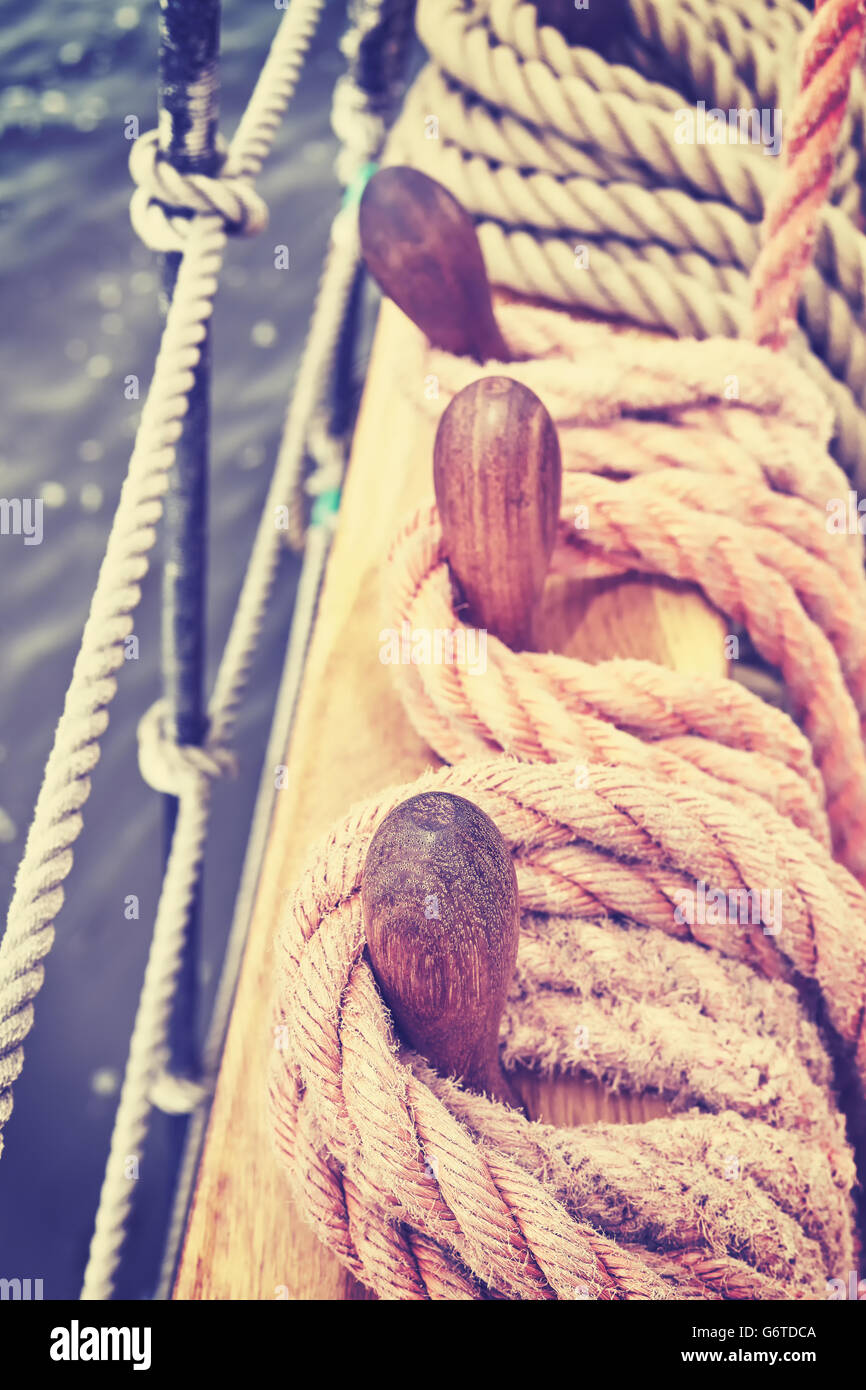 Vintage toned rigging of an old sailing ship, shallow depth of field. - Stock Image