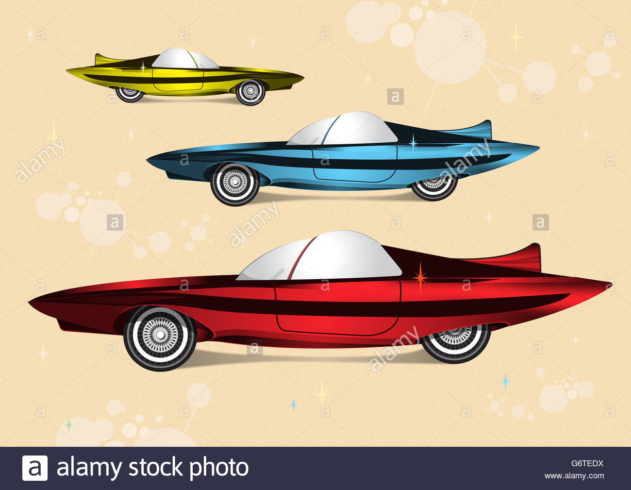 Futuristic super car mid century illustration - Stock Image