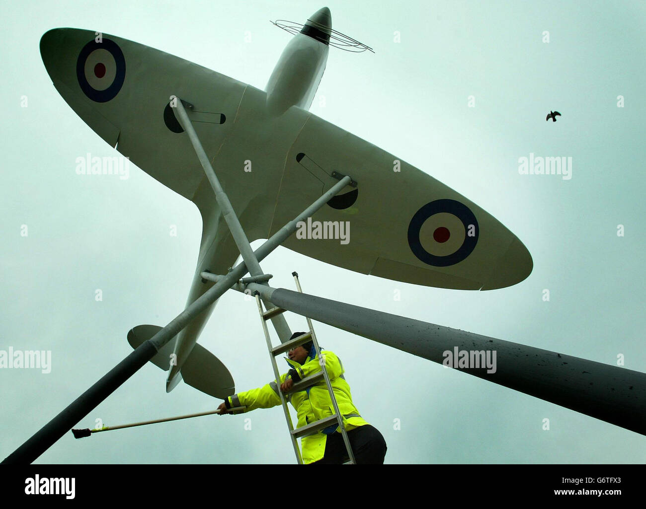 RJ Mitchell's famous Spitfire fighter plane - Stock Image