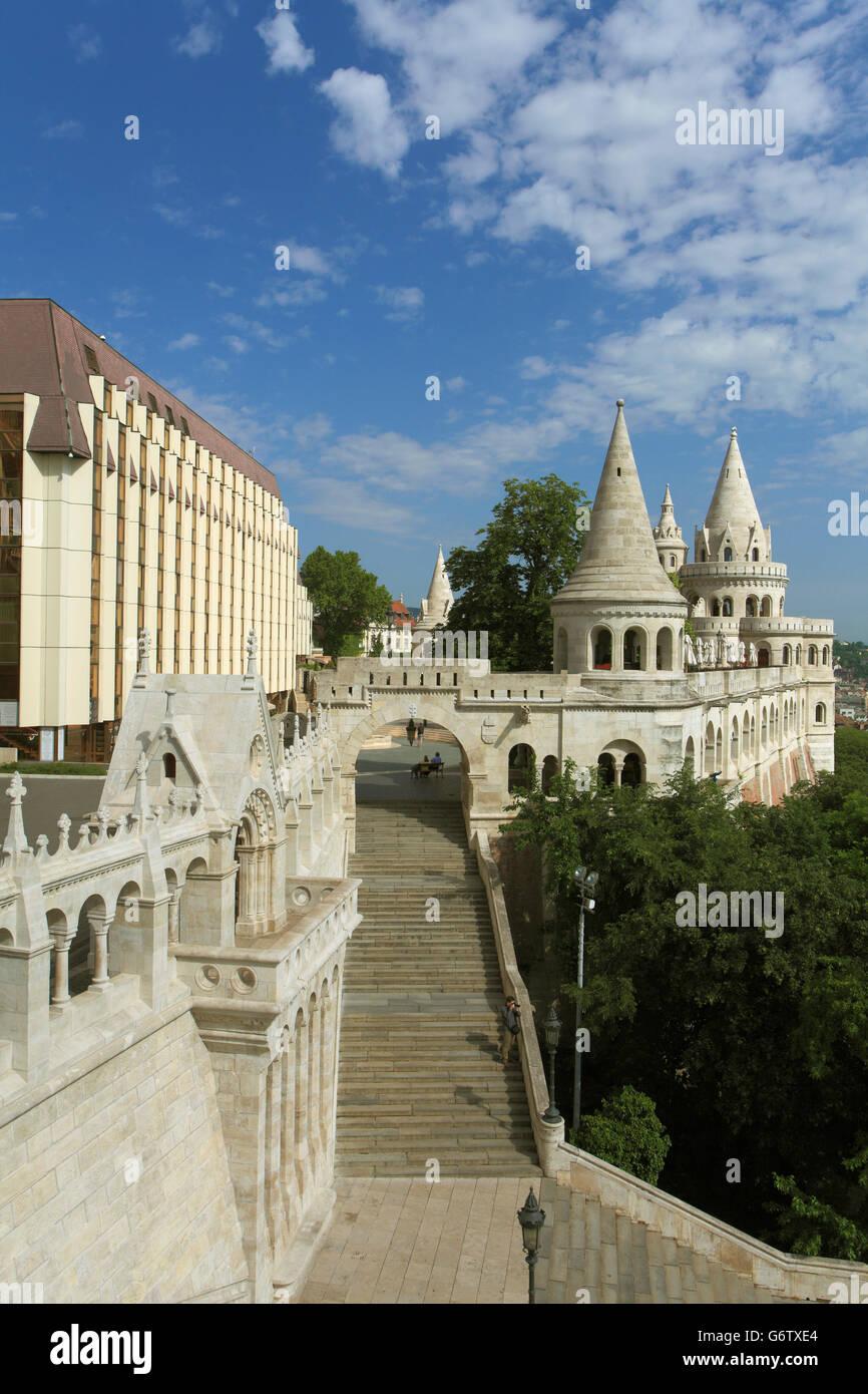Hungary, Budapest, Fishermen's Bastion, Hilton Hotel, - Stock Image