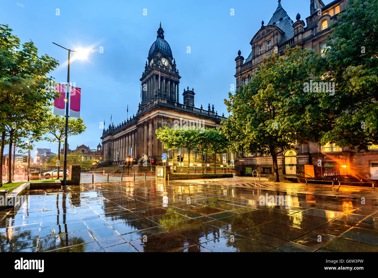 Leeds Town Hall was built  on Park Lane (now The Headrow), Leeds, West Yorkshire, England. - Stock Image