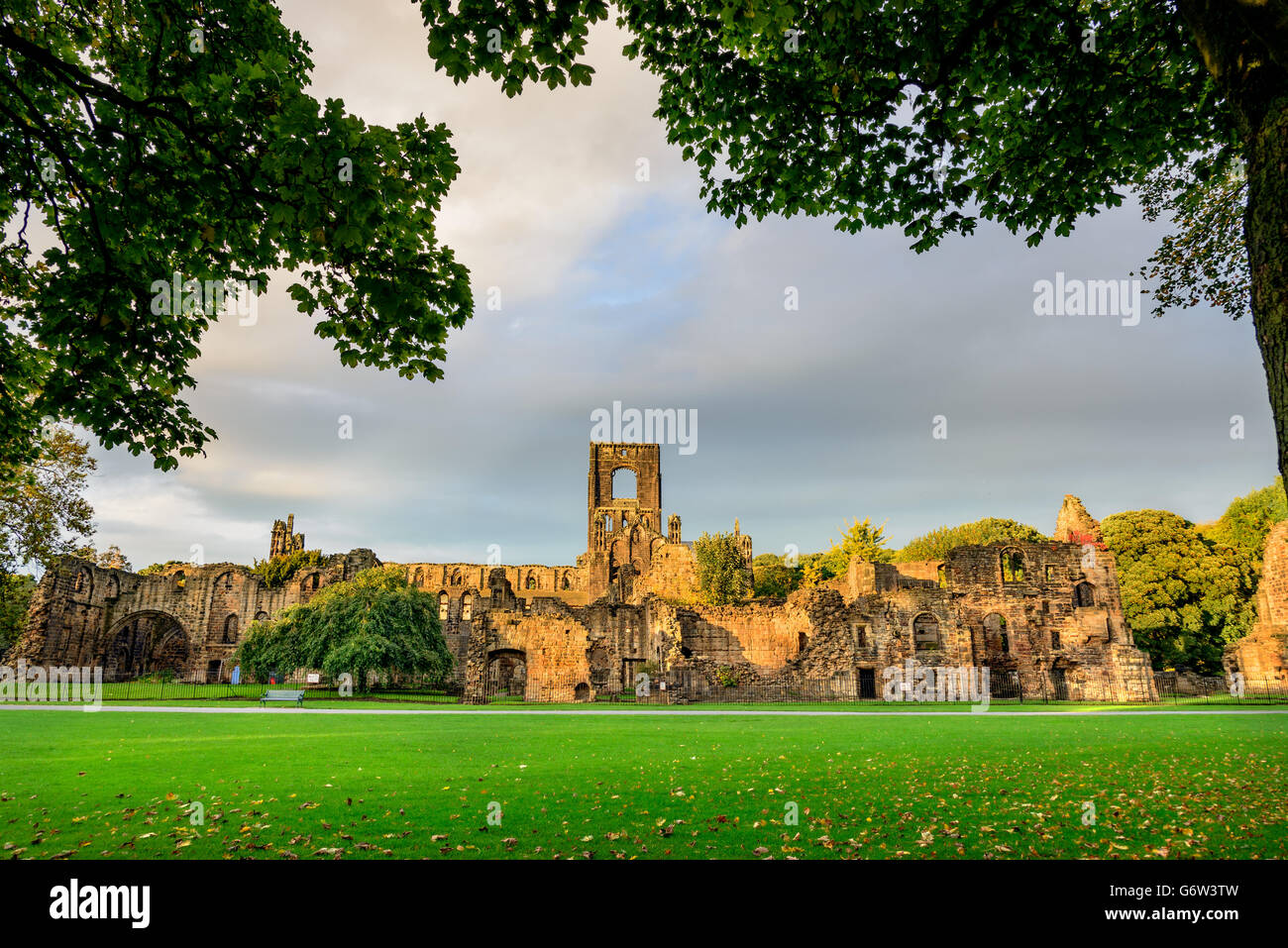 Kirkstall Abbey is a ruined Cistercian monastery in Kirkstall north-west of Leeds city center in West Yorkshire, - Stock Image