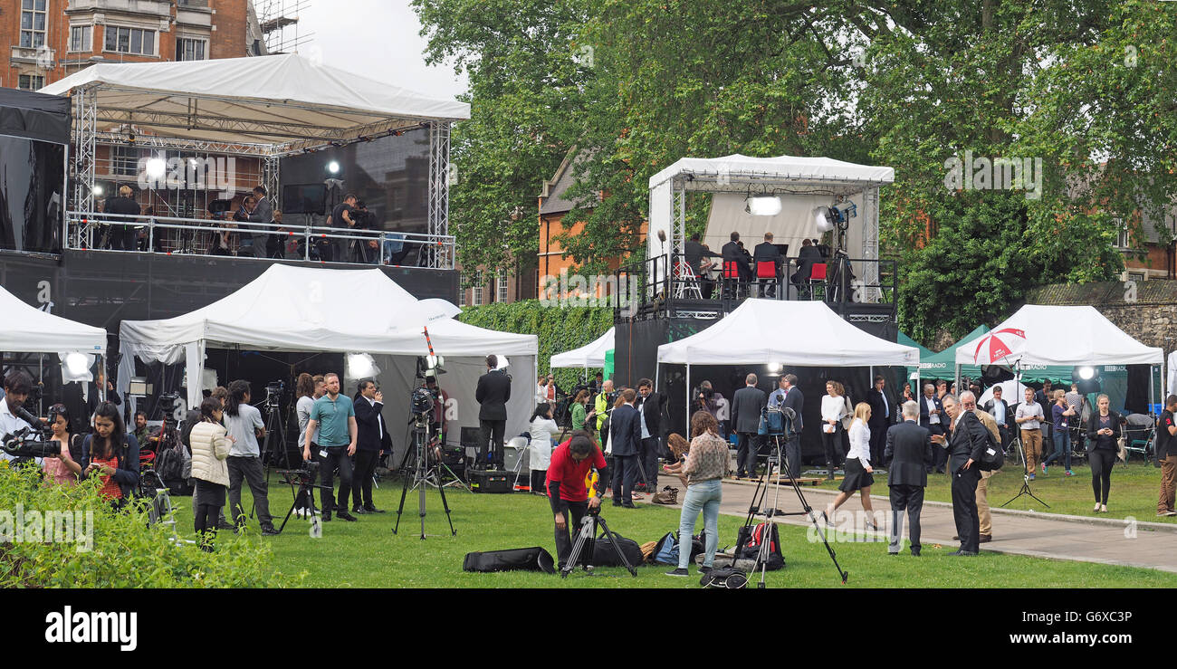 A view of TV news outside broadcast covering the EU referendum result at The College Garden in London on Friday - Stock Image