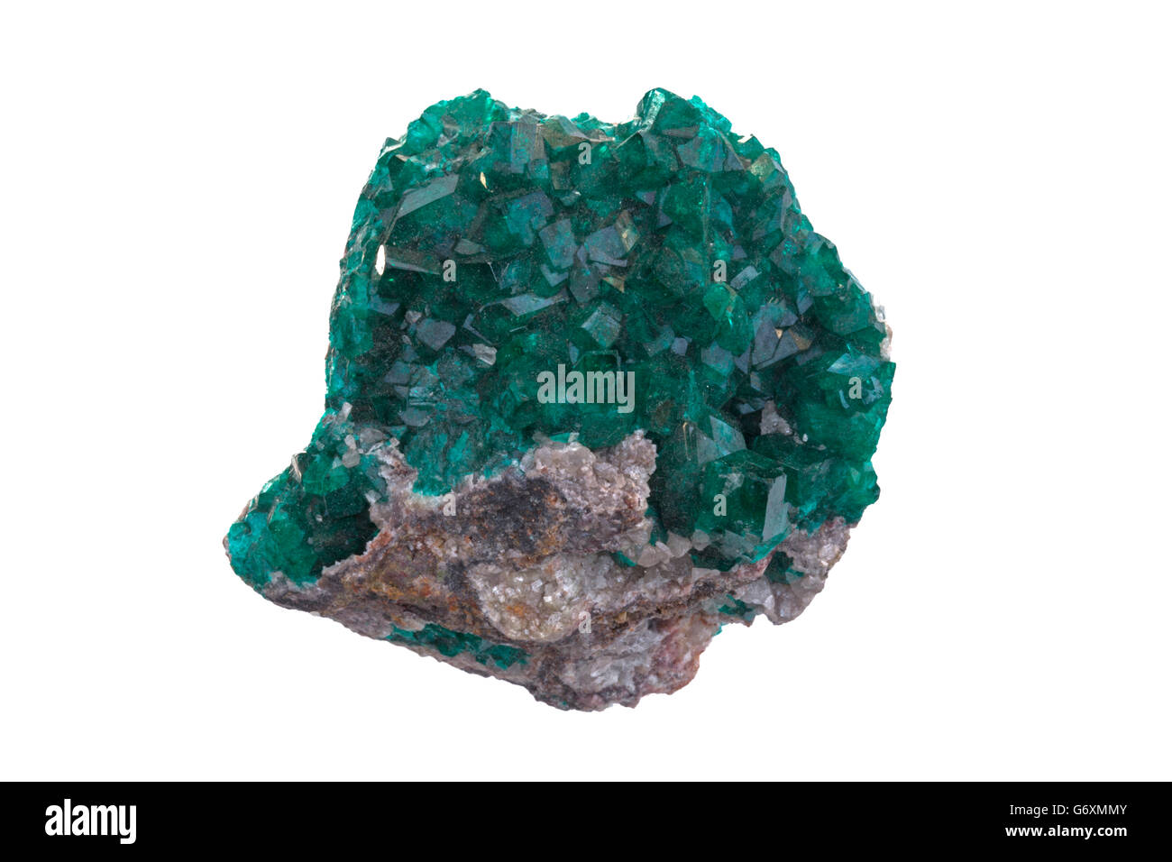 Dioptase, copper cyclosilicate mineral, Tsumeb mine, Namibia - Stock Image