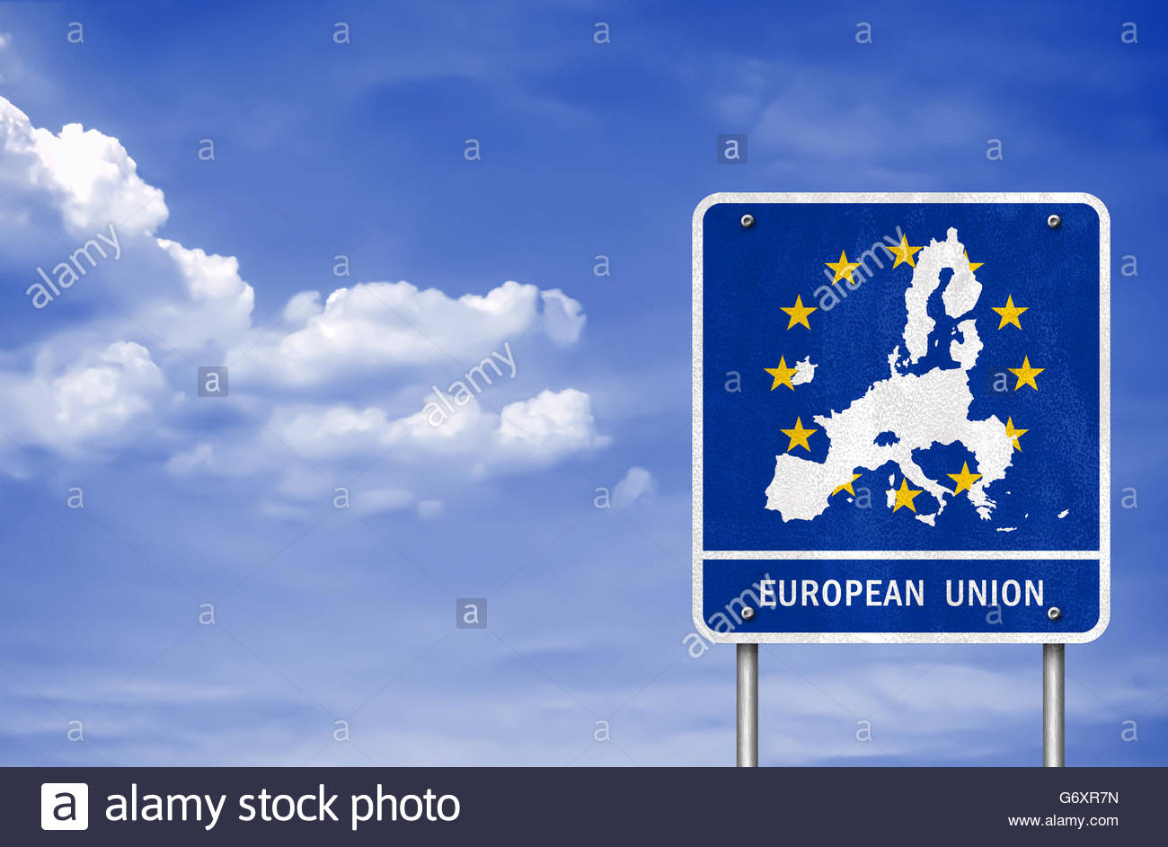 European Union road sign map without the UK - Stock Image