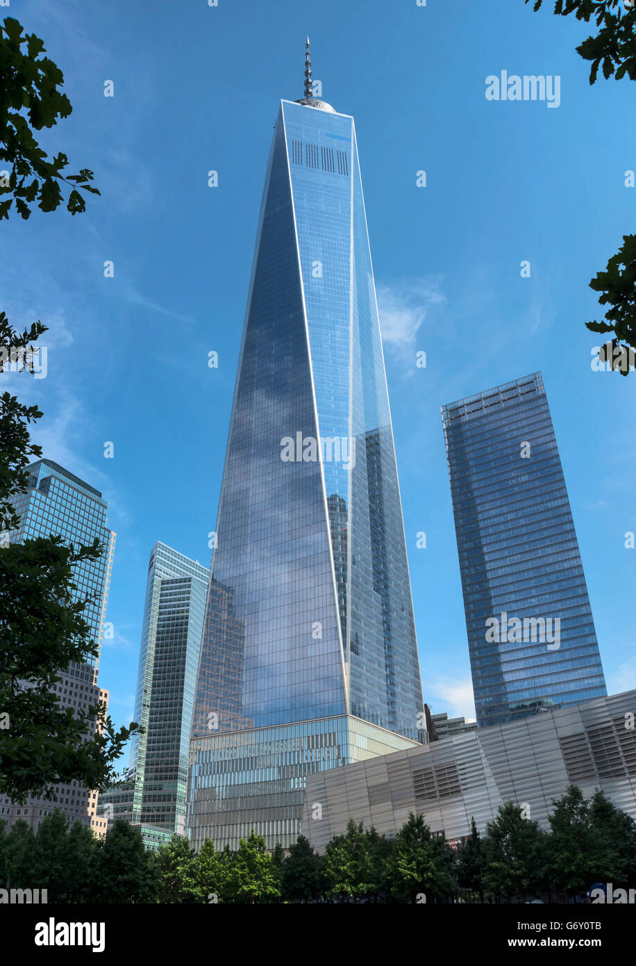View on One World Trade Center, New York, New York State , Lower Manhattan, USA - Stock Image