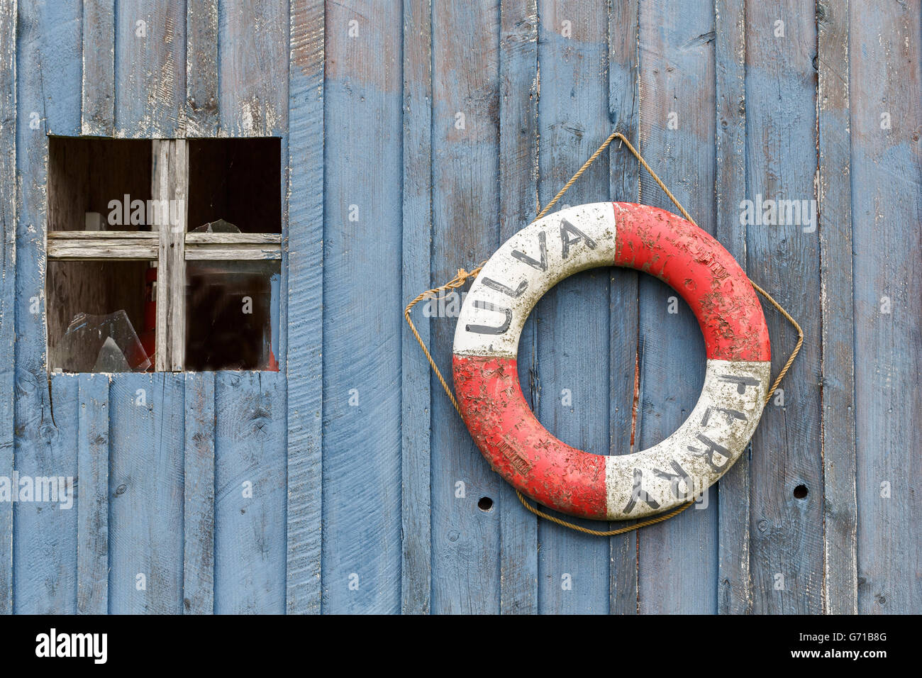 Lifebelt sign 'Ulva Ferry'. Ulva, Mull, Scotland - Stock Image