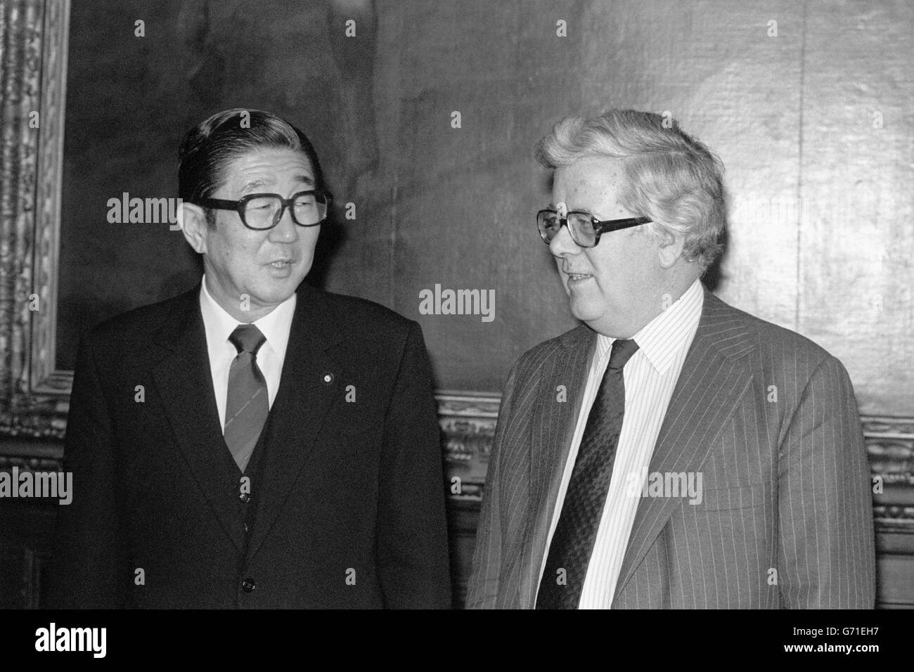 Politics - European Tour - Shintaro Abe and Sir Geoffrey Howe - Foreign Office, London - Stock Image
