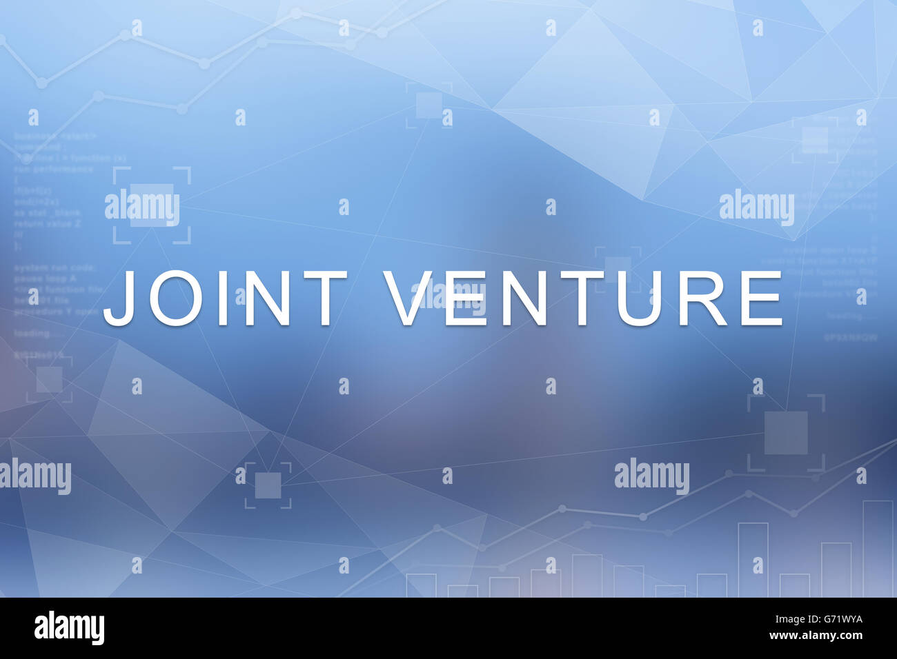 joint venture word on blue blurred and polygon background - Stock Image