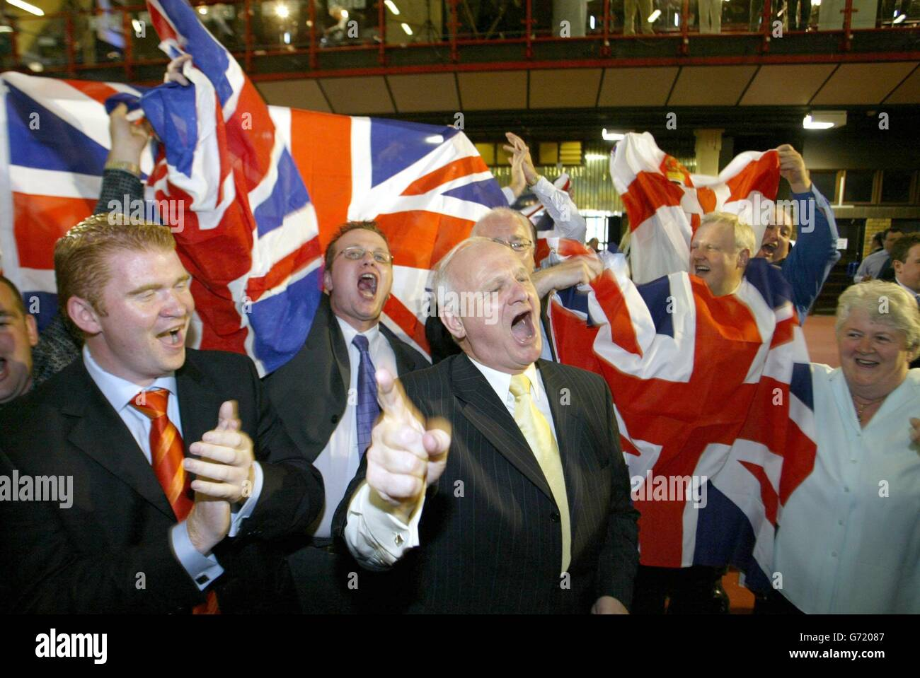 Democratic Unionist Party celebrate - Stock Image