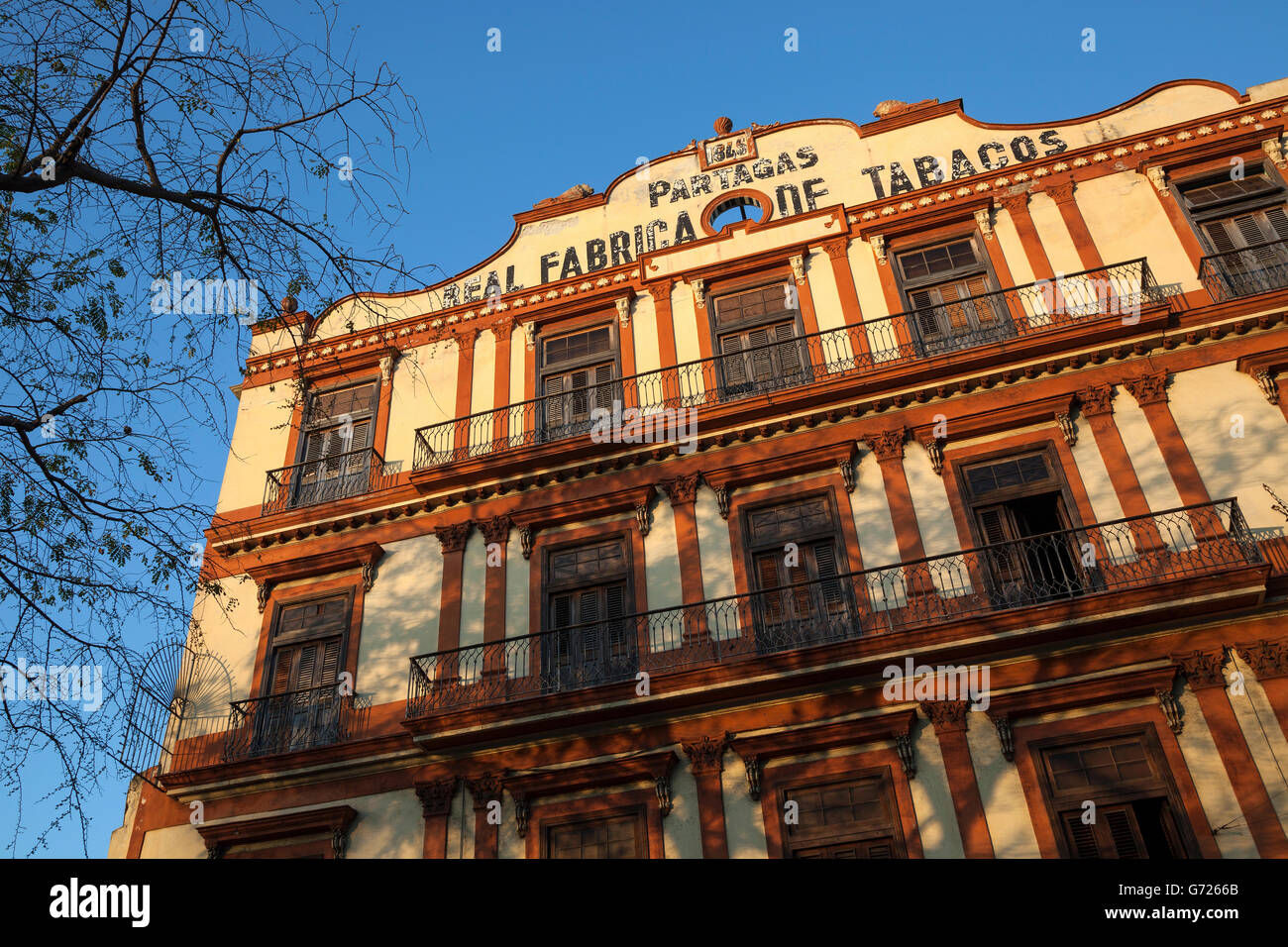 Frontage of a former tobacco factory, historic centre, Havana, Cuba - Stock Image