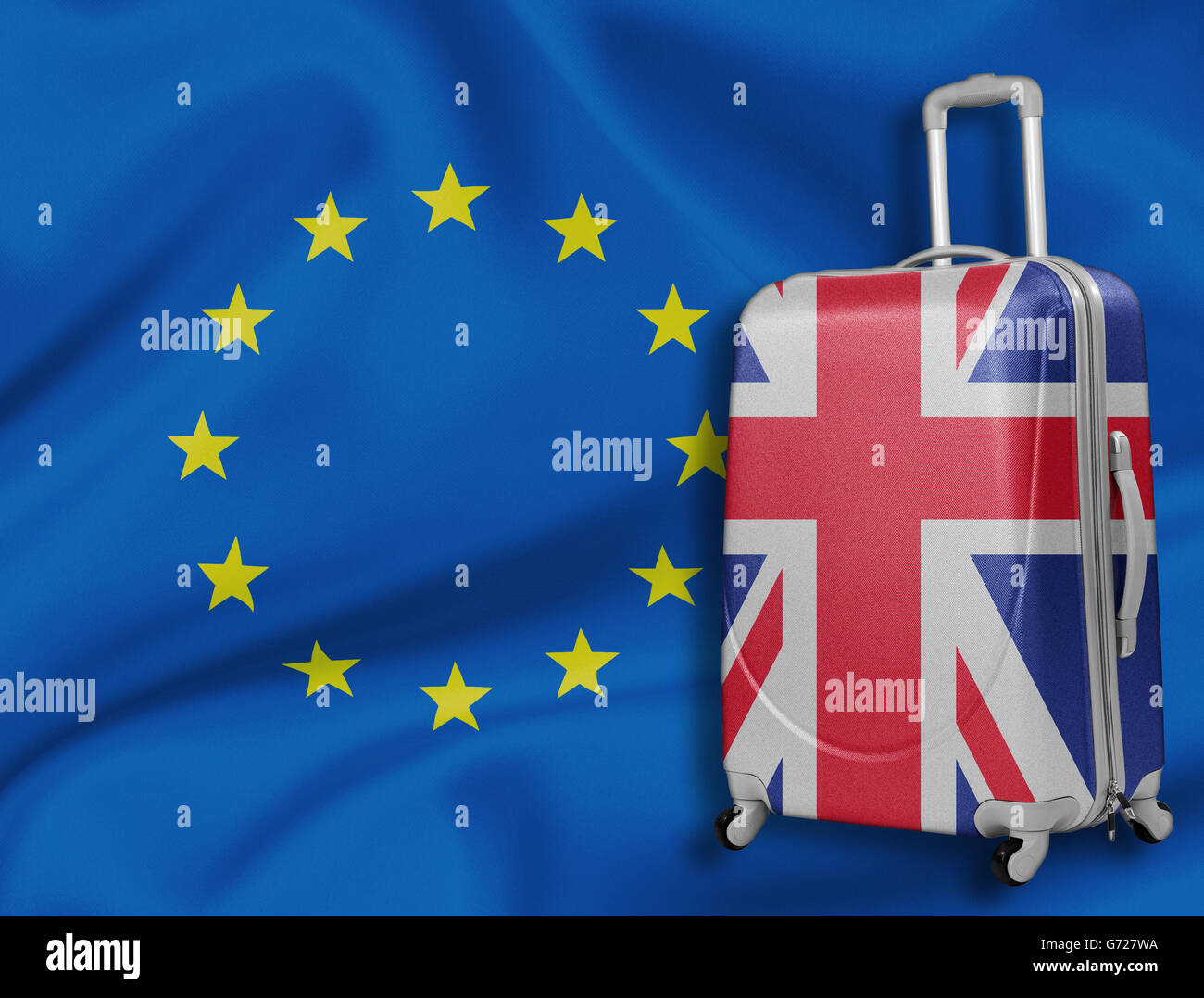 Brexit illustration. British baggage with EU flag behind. - Stock Image