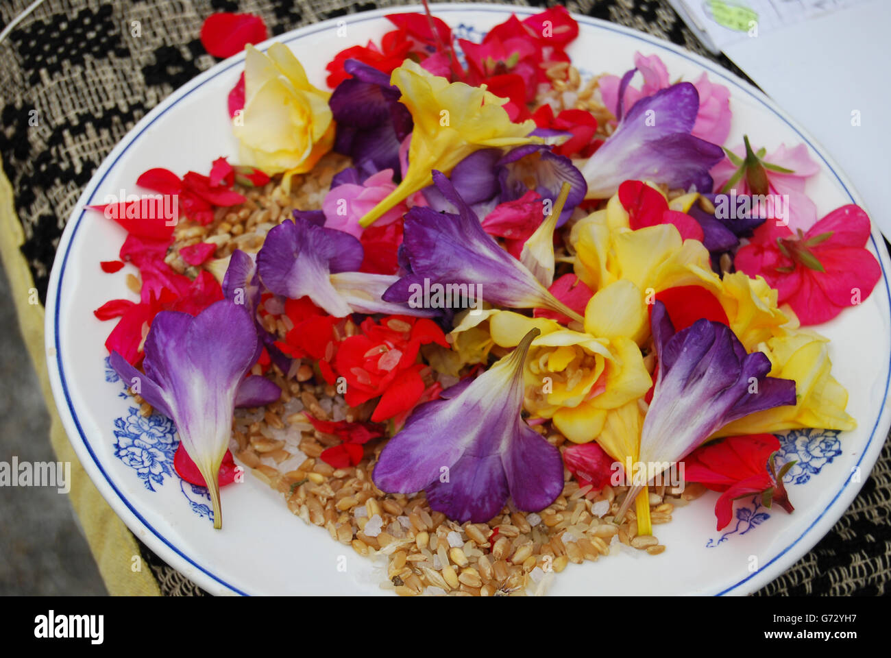 View of an assortment of edible flowers with plate - Stock Image