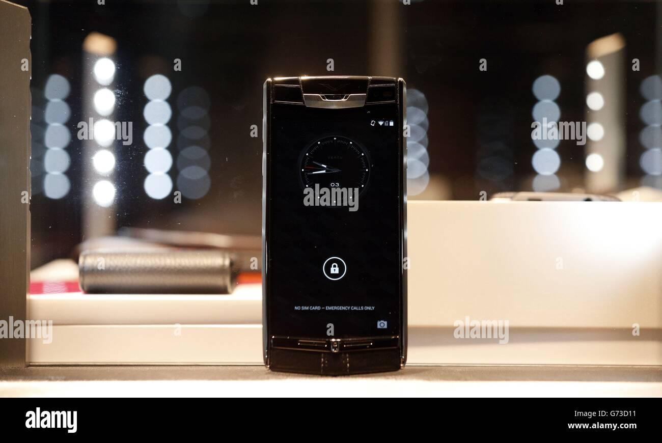 Vertu luxury phone launch - Stock Image