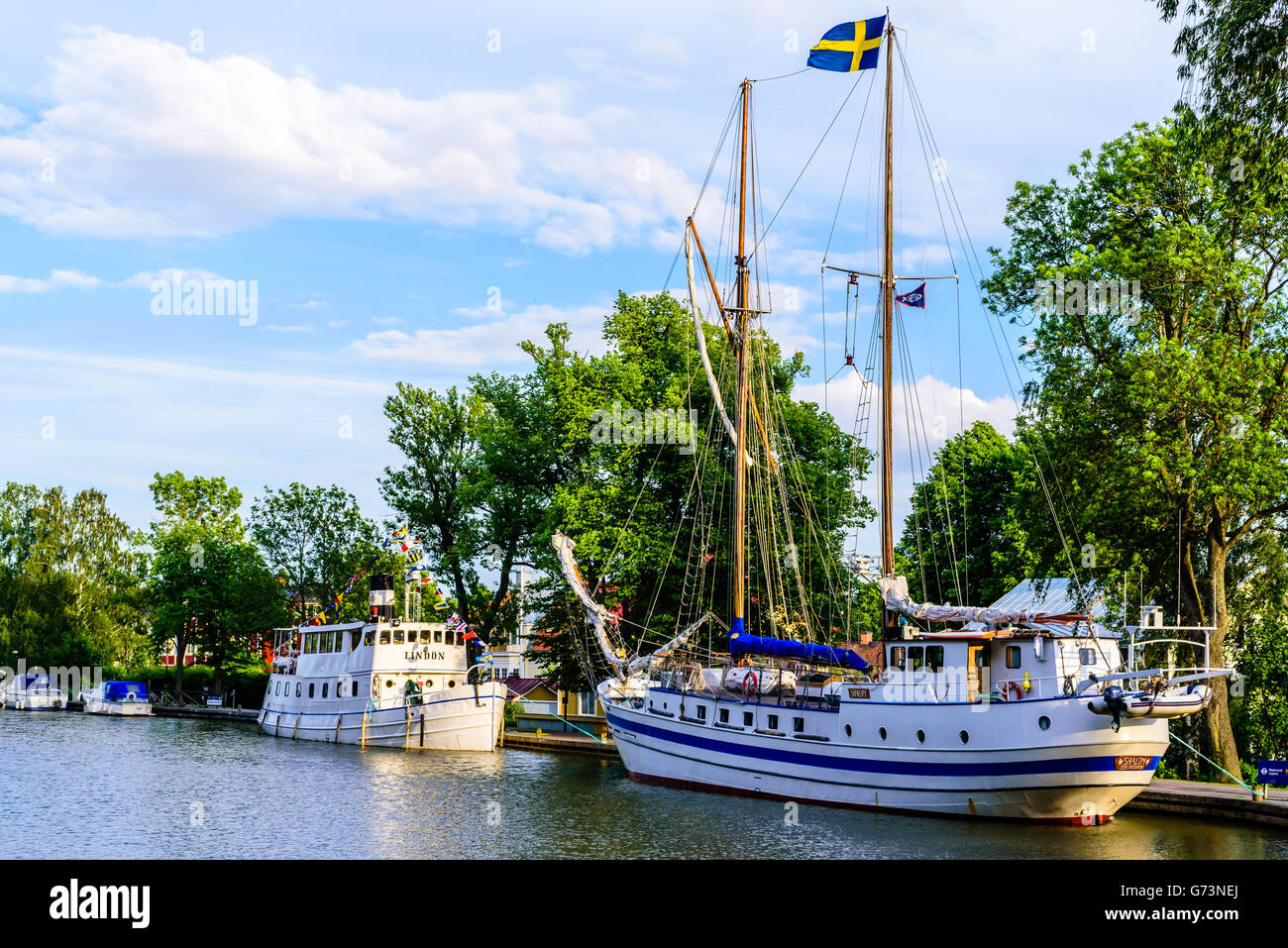 Soderkoping, Sweden - June 19, 2016: The two boats Shalom (Christian missionary boat) and Lindon (passenger boat) - Stock Image