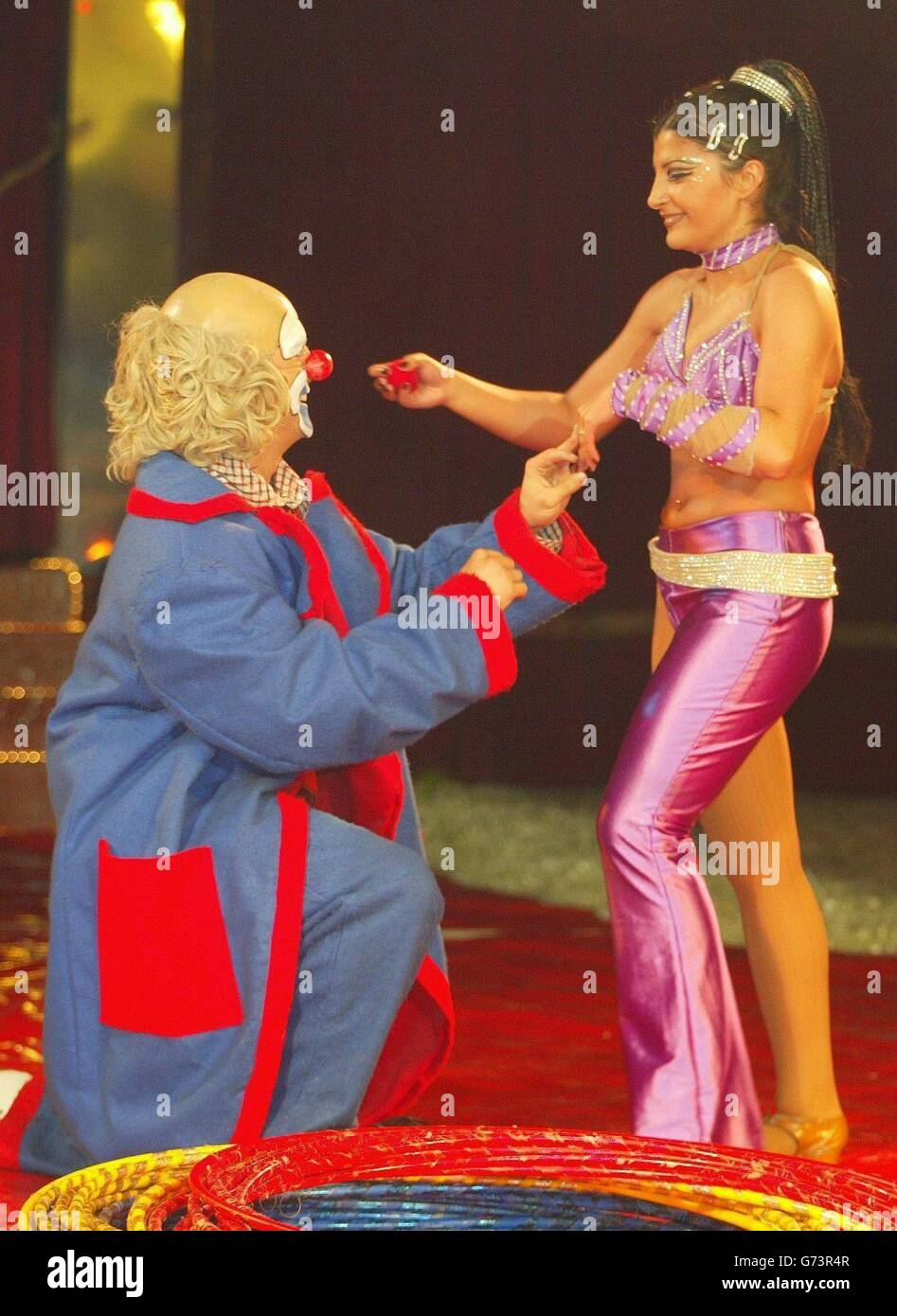 Nicol the clown proposes to Jana Roberts - Stock Image
