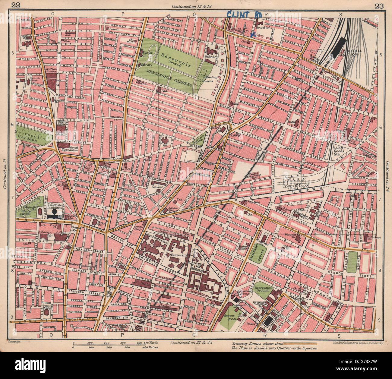 LIVERPOOL. Edgehill Kensington Gardens Royal Liverpool Uni Hospital, 1928 map - Stock Image
